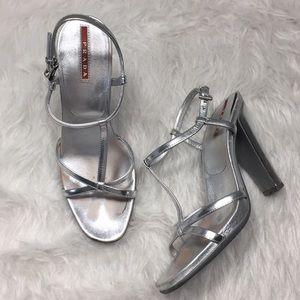 Prada silver leather strappy heel Sandals Sz 37